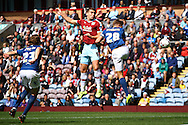 Sam Vokes of Burnley (c) heads towards goal. Skybet football league championship match, Burnley  v Birmingham City at Turf Moor in Burnley, Lancs on Saturday 15th August 2015.<br /> pic by Chris Stading, Andrew Orchard sports photography.