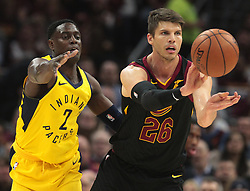 April 25, 2018 - Cleveland, OH, USA - The Cleveland Cavaliers' Kyle Korver (26) passes the ball after a steal against the Indiana Pacers' Darren Collison in the first quarter in Game 5 of a first-round playoff series on Wednesday, April 25, 2018, at Quicken Loans Arena in Cleveland. (Credit Image: © Leah Klafczynski/TNS via ZUMA Wire)