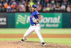 May 7, 2018 - Arlington, TX, U.S. - ARLINGTON, TX - MAY 07: Texas Rangers relief pitcher Jose Leclerc (62) pitches in the sixth inning during the game between the Texas Rangers and the Detroit Tigers on May 07, 2018 at Globe Life Park in Arlington, Texas. Texas defeats Detroit 7-6. (Photo by Matthew Pearce/Icon Sportswire) (Credit Image: © Matthew Pearce/Icon SMI via ZUMA Press)