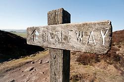 Bridleway Sign on Derwent Edge..http://www.pauldaviddrabble.co.uk.11 March 2012 .Image © Paul David Drabble