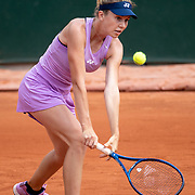 PARIS, FRANCE June 10. Linda Noskova of the Czech Republic in action against Victoria Jimenez Kasintseva of Andorra in the quarter finals of the Junior Girls Singles competition singles competition at the 2021 French Open Tennis Tournament at Roland Garros on June 10th 2021 in Paris, France. (Photo by Tim Clayton/Corbis via Getty Images)