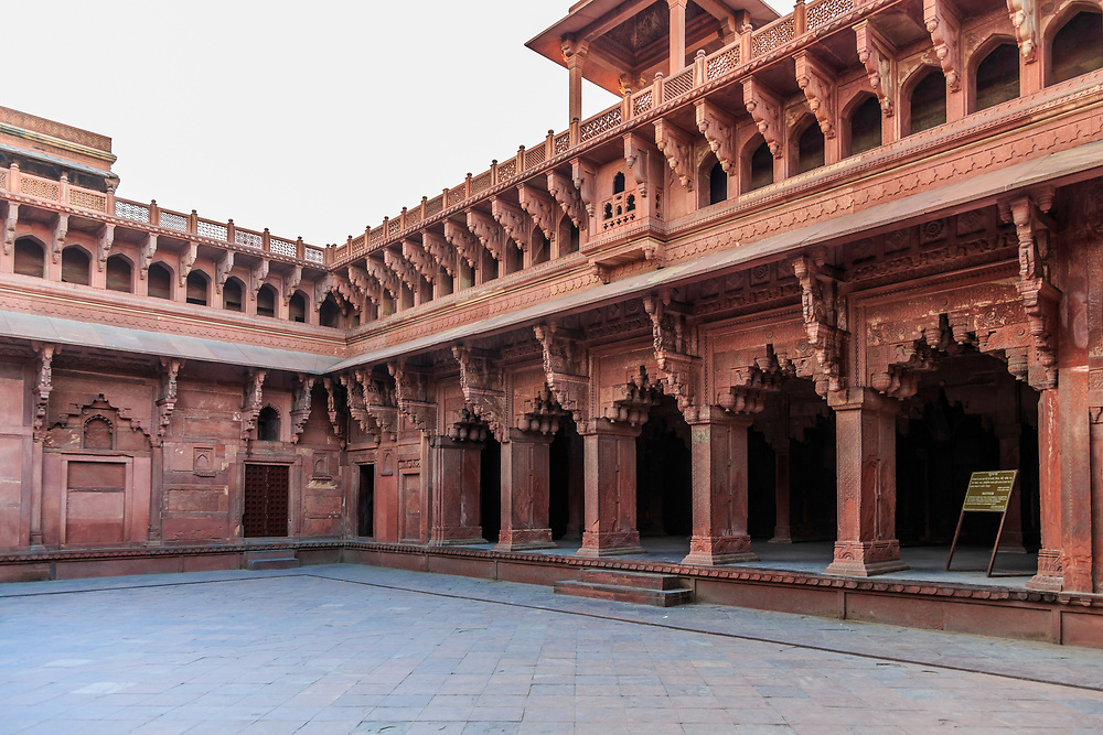 Machchi Bhawan or the Fish Chamber in Agra Fort , India. It is  believed that it was used to rear gold fishes for the emperor. Situated in front of the Diwan-i-Khas, it is believed to have marble fountains and tanks once, for the purpose.