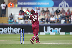 July 1, 2019 - Chester Le Street, County Durham, United Kingdom - Sunil Ambris of West Indies top edges a catch to Sri Lanka's Kusal Mendis off Lasith Malinga during the ICC Cricket World Cup 2019 match between Sri Lanka and West Indies at Emirates Riverside, Chester le Street on Monday 1st July 2019. (Credit Image: © Mi News/NurPhoto via ZUMA Press)