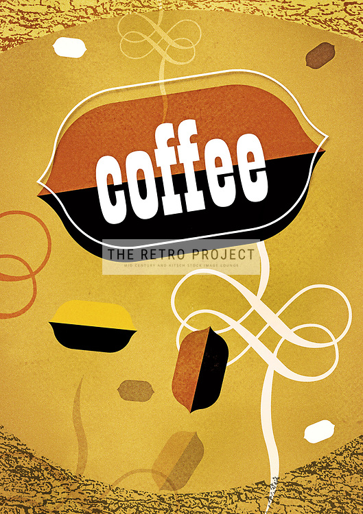 Mid Century Scandinavian Roasted Coffee Bean Aroma illustration retro design by Hedvig Desh