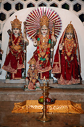 Shrine at Hindu temple during Diwali,