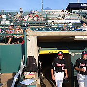 Ryan O'Rourke (left) and Mike Kvasnicka, emerge from the club house before the New Britain Rock Cats Vs Binghamton Mets Minor League Baseball game at New Britain Stadium, New Britain, Connecticut, USA. 2nd July 2014. Photo Tim Clayton