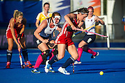 England's Laura Unsworth tries to get a shot away. England v Scotland - Unibet EuroHockey Championships, Lee Valley Hockey & Tennis Centre, London, UK on 22 August 2015. Photo: Simon Parker