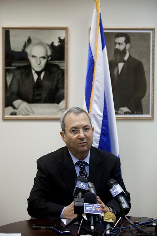 Israel's Defense Minister Ehud Barak speaks during an Atzmaut faction meeting at the Knesset, Israel's parliament in Jerusalem, on June 25, 2012.