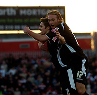 Photo: Jed Wee.<br />Doncaster Rovers v Swansea City. Coca Cola League 1.<br />17/12/2005.<br />Swansea's Sam Ricketts (L) celebrates his goal with Paul Connor.