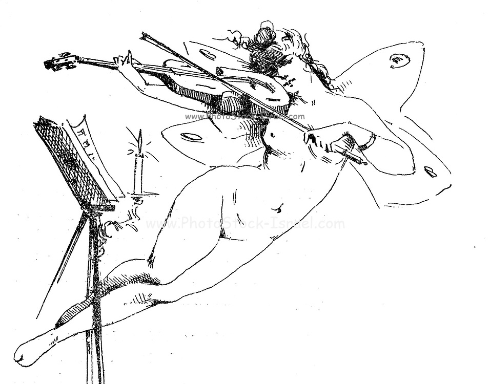 Pencil sketch of a nude female angel playing the violin from Le Nu au Salon 1888 A collection of Nude photography published in Paris in 1888 collected by Silvestre, Armand, 1837-1901 Catalogs of nudes exhibited at the official Paris Salons. Some years have two parts: The Salon held at the Champs Élysées sponsored by the Société des artistes français and the Salon held at the Champ de Mars sponsored by the Société nationale des beaux-arts