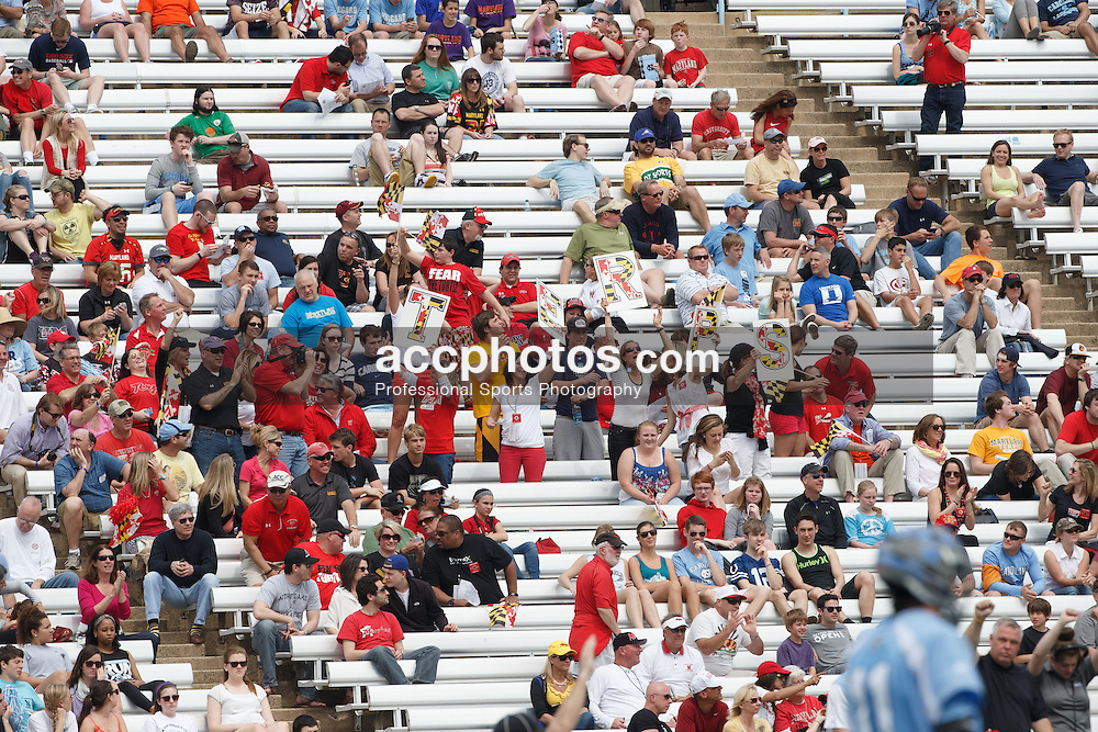 CHAPEL HILL, NC - MARCH 22: Maryland Terrapin fans during a game against the North Carolina Tar Heels on March 22, 2014 at Kenan Stadium in Chapel Hill, North Carolina. North Carolina won 11-8. (Photo by Peyton Williams/Inside Lacrosse)