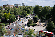 Seen from the elevation from the Marble Arch Mound, is the northern end of Park Lane, on 11th August 2021, in London, England.