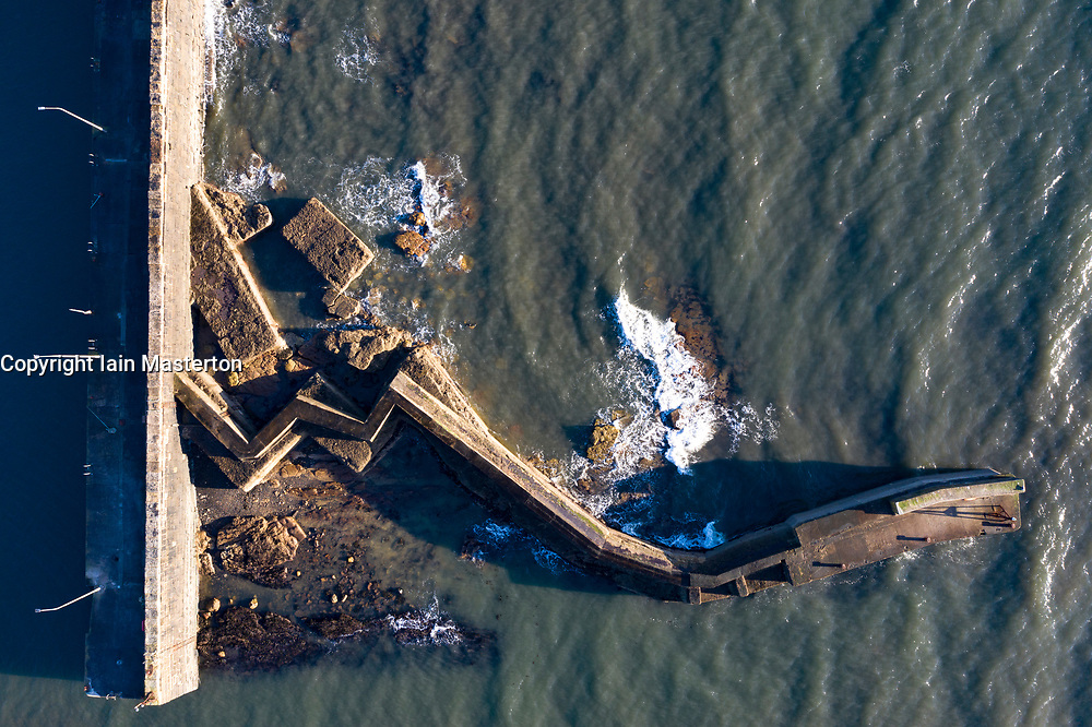 Aerial view from drone of breakwater at St Monans fishing village in the East Neuk of Fife, Scotland, UK