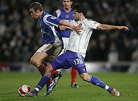 Photo: Lee Earle.<br /> Portsmouth v Chelsea. The Barclays Premiership. 03/03/2007.Chelsea's Michael Ballack (R) tackles Sean Davis.