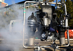 The JB-10 Jetpack flying machine at the Royal Victoria Docks in east London on its maiden flight in the UK to mark the launch of an equity crowdfunding campaign on Seedrs.