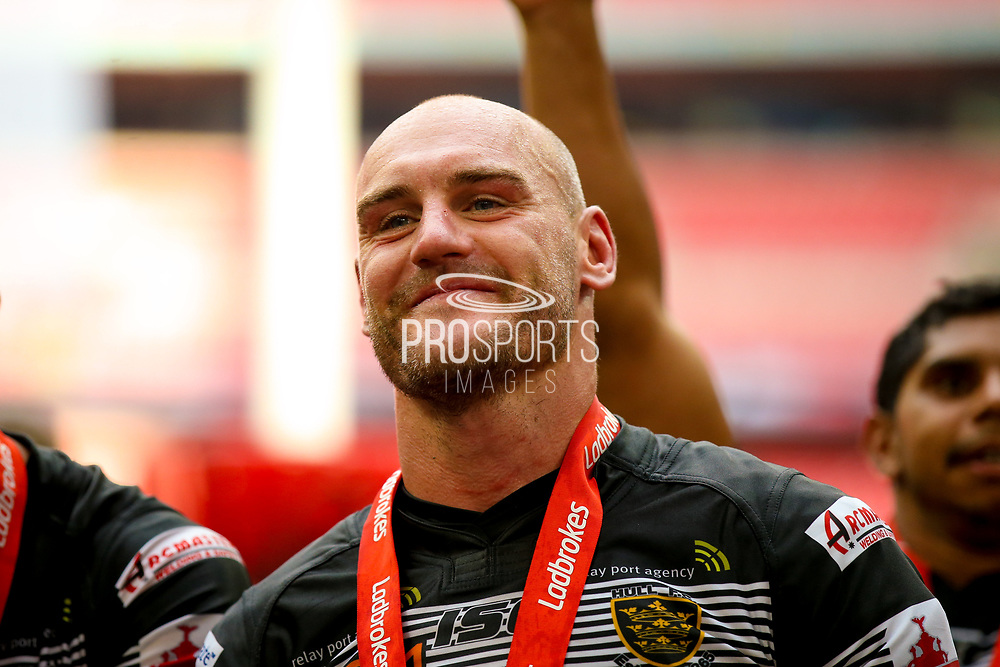 Hull FC loose forward and captain Gareth Ellis (13)  during the Ladbrokes Challenge Cup Final 2017 match between Hull RFC and Wigan Warriors at Wembley Stadium, London, England on 26 August 2017. Photo by Simon Davies.