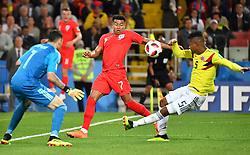 England's Jesse Lingard and Colombia's Wilmar Barrios during the FIFA World Cup 2018 1/8 final Colombia v England game at the Spartak Stadium, Moscow, Russia, on July 3, 2018. Photo by Christian Liewig/ABACAPRESS.COM