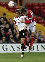 Fotball<br /> England 2004/2005<br /> Foto: SBI/Digitalsport<br /> NORWAY ONLY<br /> <br /> Nottingham Forest v Sheffield United<br /> City Ground, Nottingham<br /> Coca Cola Championship<br /> 12/04/2005<br /> <br /> Phil Jagielka and Gareth Taylor