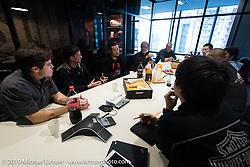 Harley-Davidson design team members (L>R) Charlie Wartgow, Ben McGinley, Dais Nagao and head of design Ray Drea visit Harley-Davidson Japan's headquarters. Tokyo, Japan. Tuesday, December 9, 2014. Photograph ©2014 Michael Lichter.