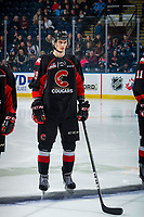 KELOWNA, BC - FEBRUARY 08: Vladislav Mikhalchuk #29 of the Prince George Cougars lines up against the Kelowna Rockets at Prospera Place on February 8, 2019 in Kelowna, Canada. (Photo by Marissa Baecker/Getty Images)