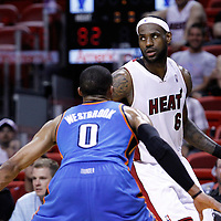 16 March 2011: Miami Heat small forward LeBron James (6) looks for a teammate during the Oklahoma City Thunder 96-85 victory over the Miami Heat at the AmericanAirlines Arena, Miami, Florida, USA.