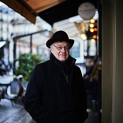 Yves Roucaute, writer and philosopher, posing in the street near the Cafe de Flore. Paris, France. January 22, 2019.<br /> Yves Roucaute, ecrivain et philosophe, pose dans la rue aux abords du Cafe de Flore. Paris, France. 22 janvier 2019.
