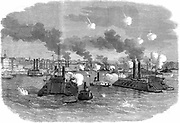 American Civil War 1861-1865: Destruction of the Confederate (Southern) flotilla by Unionist armoured gunboats at Memphis, Tennessee, July 1862. Wood engraving.