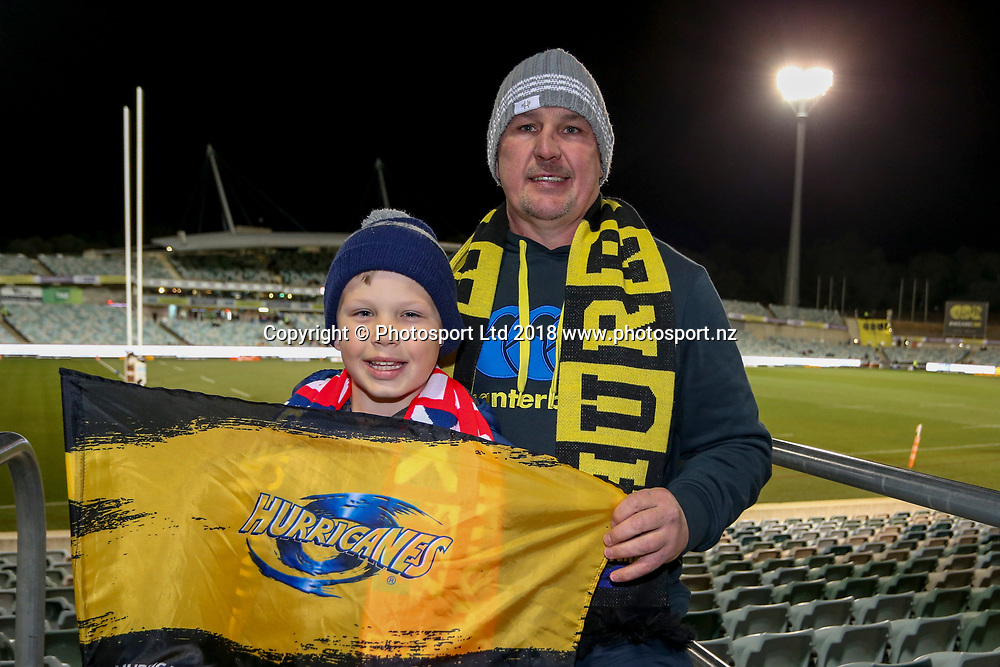 Hurricanes fans before the start of the Super Rugby match, Brumbies V Hurricanes, GIO Stadium, Canberra, Australia, 30th June 2018.Copyright photo: David Neilson / www.photosport.nz