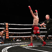 TAMPA, FL - JUNE 22: Johnny Bedford celebrates an early knockdown on Reggie Barnett during the Bare Knuckle Fighting Championships at Florida State Fairgrounds Entertainment Hall on June 22, 2019 in Tampa, Florida. (Photo by Alex Menendez/Getty Images) *** Local Caption *** Reggie Barnett; Johnny Bedford