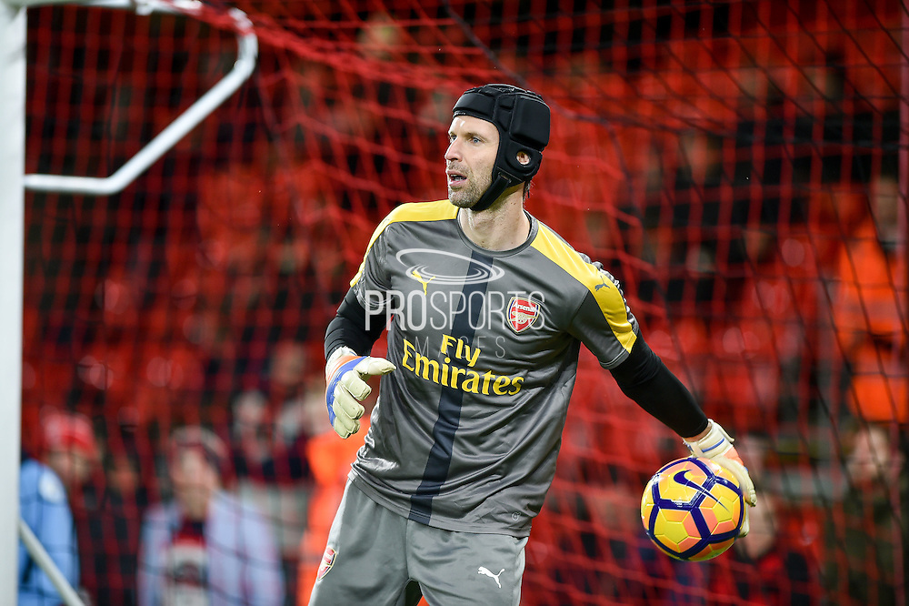 Arsenal Goalkeeper, Petr Cech (33) warming up during the Premier League match between Bournemouth and Arsenal at the Vitality Stadium, Bournemouth, England on 3 January 2017. Photo by Adam Rivers.