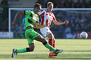 Farrend Rawson and Luke Varney during the EFL Sky Bet League 2 match between Forest Green Rovers and Cheltenham Town at the New Lawn, Forest Green, United Kingdom on 20 October 2018.
