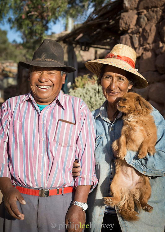 Portrait of farmers with their dog. from the Atacama Desert, Chile, South America