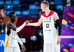 Dennis Schroder of Germany and Robin Benzing of Germany celebrate after winning during basketball match between National Teams of Germany and France at Day 10 in Round of 16 of the FIBA EuroBasket 2017 at Sinan Erdem Dome in Istanbul, Turkey on September 9, 2017. Photo by Vid Ponikvar / Sportida