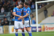 Goalscorers Ian Henderson and Joe Rafferty celebrate Rafferty's goal during the EFL Sky Bet League 1 match between Rochdale and Gillingham at Spotland, Rochdale, England on 23 September 2017. Photo by Daniel Youngs.