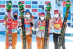 Team Germany: Hinz Vanessa, Hettich Janina, Herrmann Denise, Preuss Franziska celebrate at medal ceremony during the IBU World Championships Biathlon 4x6km Relay Women competition on February 20, 2021 in Pokljuka, Slovenia. Photo by Vid Ponikvar / Sportida