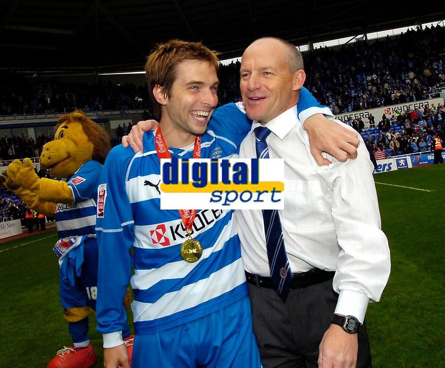 Photo: Ed Godden.<br /> Reading v Queens Park Rangers. Coca Cola Championship. 30/04/2006. Reading player Bobby Convey celebrates winning the Championship with Manager Steve Coppell.