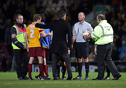 Peterborough United Manager, Darren Ferguson questions match referee Andy Haines  - Photo mandatory by-line: Joe Dent/JMP - Mobile: 07966 386802 18/04/2014 - SPORT - FOOTBALL - Bradford - Valley Parade - Bradford City v Peterborough United - Sky Bet League One