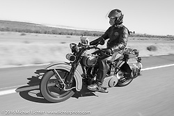 Pat Simmons of the Doobie Brothers riding his 1929 Harley-Davidson JD during Stage 15 (244 miles) of the Motorcycle Cannonball Cross-Country Endurance Run, which on this day ran from Lewiston, Idaho to Yakima, WA, USA. Saturday, September 20, 2014.  Photography ©2014 Michael Lichter.