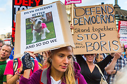 """Thousands of pro-democracy protesters gather in Parliament Square, London for a """"Stop The Coup"""" Protest as inside the House of Commons British Prime Minister Boris Johnson faces an attempt by MPs to wrest control of the Parliamentary Order Paper from the government. London, September 03 2019."""