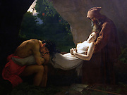 Funérailles d'Atala (Anne-Louis Girodet de Roussy Trioson. Atatla is taken from the novel by Chateaubriand, published in 1801. The moment chosen is the burial of Atala in the grotto, where a hermit winds linen round the body. 1808