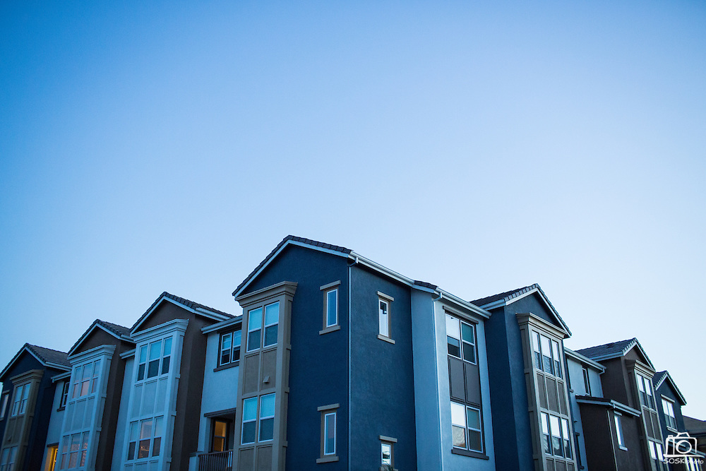 Town home construction nears completion at the Taylor Morrison town home project on the 1500 block of McCandless Drive in Milpitas, California, on July 21, 2014. (Stan Olszewski/SOSKIphoto)