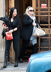 © London News Pictures. 16/04/2012. London, UK.  Dwina Gibb (right), the wife of singer Robin Gibb of the Bee Gees musical group leaving The London Clinic in central London on April 16, 2012. Robin Gibb, singer with the legendary British band the Bee Gees, is in a coma in hospital  after contracting pneumonia in his battle against cancer. Photo credit :  Ben Cawthra/LNP
