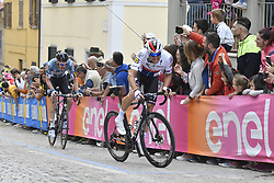 May 16, 2018 - Osimo, ITALY - Belgian Tim Wellens of Lotto Soudal and Czech Zdenek Stybar of Quick-Step Floors pictured in action during stage 11 of the 101st edition of the Giro D'Italia cycling tour, 1565km from Assisi to Osimo, Italy, Wednesday 16 May 2018...BELGA PHOTO YUZURU SUNADA FRANCE OUT (Credit Image: © Yuzuru Sunada/Belga via ZUMA Press)