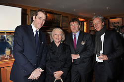 Left to right, BEN ELLIOT, LUCIA VAN DER POST, JOHN AYTON and PERRY OOSTING at the Johnnie Walker Blue Label and David Gandy partnership launch party held at Annabel's, 44 Berkeley Square, London on 5th February 2013.