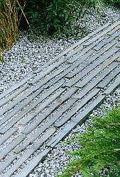Stone and gravel path<br /> 'The Wonderful World of Koi' garden, Chelsea 2002