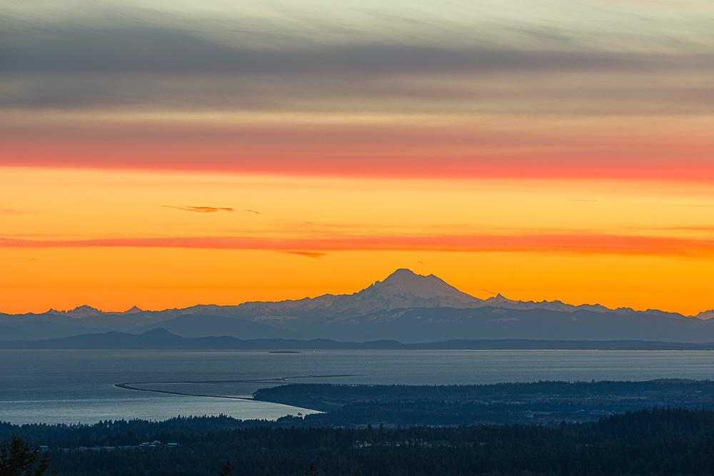 View of Mount Baker and the Strait of Juan de Fuca, morning light, Martch, Olympic Peninsula, Washington, USA