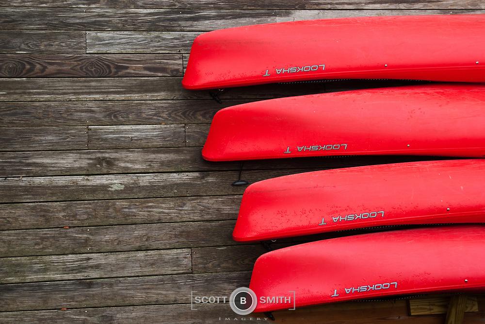 Kayaks on the docks in Camden Harbor Maine