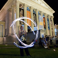 A juggler performs during the Long Night of Museums organized on Midsummer Night in Budapest, Hungary on June 24, 2011. ATTILA VOLGYI