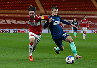 Middlesbrough's Patrick Roberts battles with Derby County's Jason Knight<br /> <br /> Photographer Alex Dodd/CameraSport<br /> <br /> The EFL Sky Bet Championship - Middlesbrough v Derby County - Wednesday 25th November 2020 - Riverside Stadium - Middlesbrough<br /> <br /> World Copyright © 2020 CameraSport. All rights reserved. 43 Linden Ave. Countesthorpe. Leicester. England. LE8 5PG - Tel: +44 (0) 116 277 4147 - admin@camerasport.com - www.camerasport.com