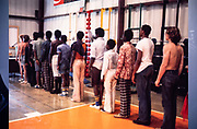 In-custody juveniles line up at Atlanta Fulton County Juvenile Detention Center, Atlanta, GA.